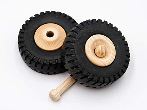 2 Stk JOWE® Holzrad 72 mm mit Gummiprofil | Holzrad aus Buche mit Gummireifen 72 mm x 27 mm