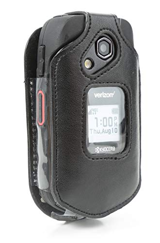 BELTRON Leather Fitted Case for Kyocera DuraXV LTE E4610 (Verizon), DuraXE E4710 (AT&T) - Features: Rotating Belt Clip, Screen & Keypad Protection, Secure Fit