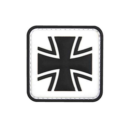 VAN OS Emblem 3D PVC Patch Eisernes Kreuz Bundeswehr Patch Klett Abzeichen Aufnäher weiß