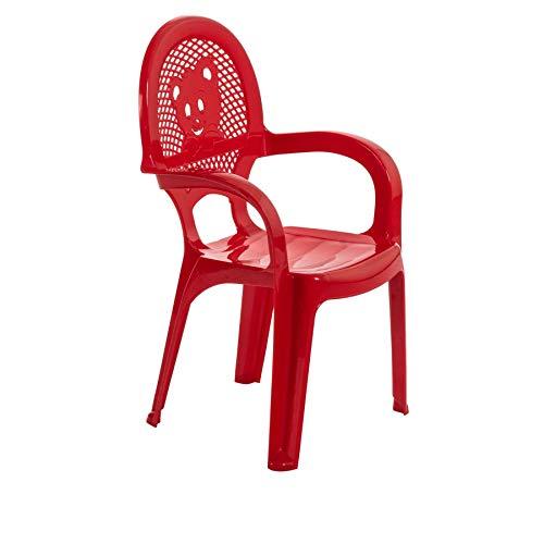 Chaise en plastique - pour jardin/extérieur - pour enfant - rouge - meuble pour enfant - lot de 2