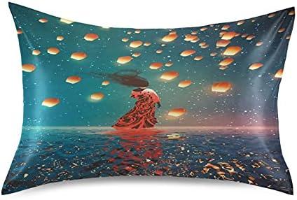 Meetutrip Japanese Star Galaxy trust Lantern Satin Pillowcase E Covers New products world's highest quality popular