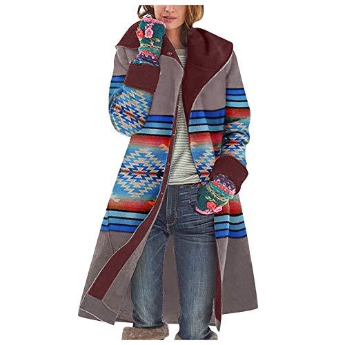 TICOOK Damen Retro Color Coat Bedruckte Langarm Jacke Klauenknopf Langer Mantel