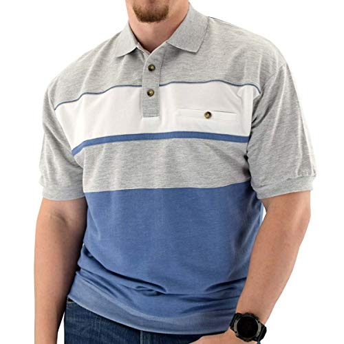 Classics by Palmland Horizontal French Terry Knit Banded Bottom Shirt Blue Hht - Big and Tall (2X, Blue HTH)