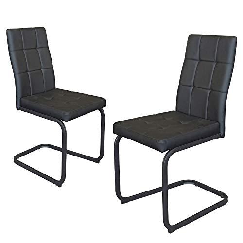 B&D home - Esszimmerstühle 2er Set   Vintage freischwinger Stühle   Kunstleder schwarz
