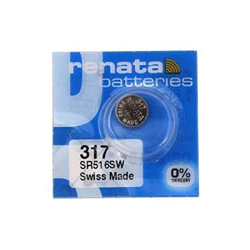 New 2PK RENATA MODEL 317 SILVER OXIDE 1.55V WATCH BATTERY SR516SW, [Importado de UK]