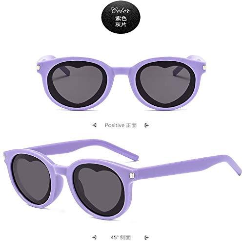 Squash bril Lame Zonnebril Amber Europa en Amerika Kleine Frame Zonnescherm zonnebril Half Outdoor bril (Color : Purple Gray)