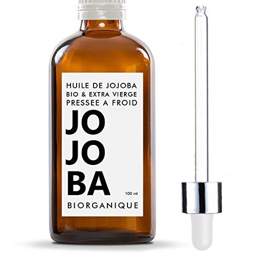 Huile de Jojoba 100% Bio, Pure, Naturelle et Pressée à froid - 100 ml - Soin pour Cheveux, Corps, Peau