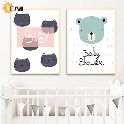 Perro Gato Panda Conejo Oso Animal Print guardería Mural Arte Lienzo Pintura Cartel nórdico e impresión...
