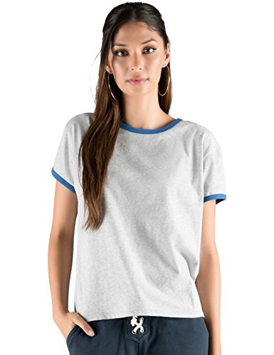 Rebel Canyon Young Women's Brushed Jersey Graphic Ringer Tee T-shirt Top Large Grey Heather