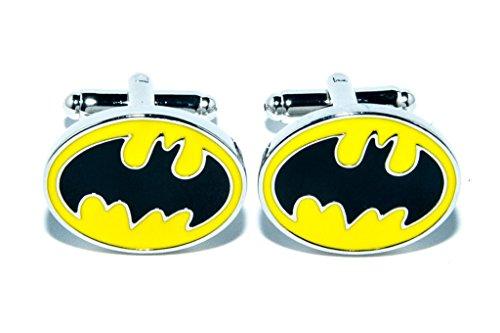 Jeff Jeffers Customs Batman DC Super HÉROS Jaune Oval Hommes Mariage Argent Bouton DE Manchette Cuff Links, avec Sac Cadeau