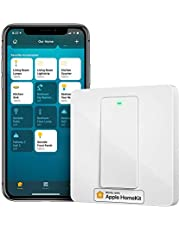 meross MSS510XHK Homekit lichtschakelaar, smart WLAN wandschakelaar, 1 versnelling vereist nulladder, fysieke toetsschakelaar, compatibel met Siri, Alexa, en Google Home, 2,4 GHz, geen hub nodig