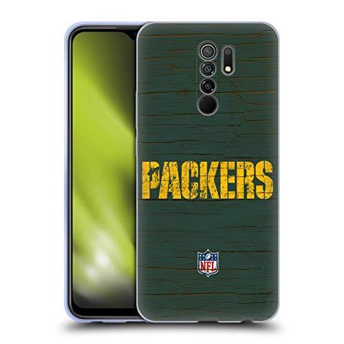 Head Case Designs Oficial NFL Aspecto Angustiado Logo de Green Bay Packers Carcasa de Gel de Silicona Compatible con Xiaomi Redmi 9