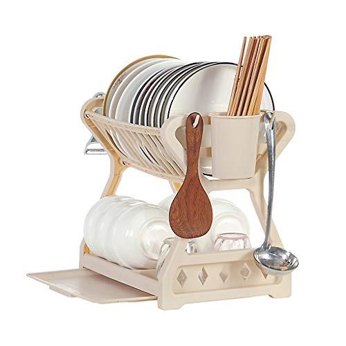 wanju Geschirrtrockner, 2-stufiger Geschirrständer für Küchenarbeitsplatte mit abnehmbarem Ablaufbrett und Essstäbchen Schüsselplatte Utensilienhalter Organizer Kunststoff