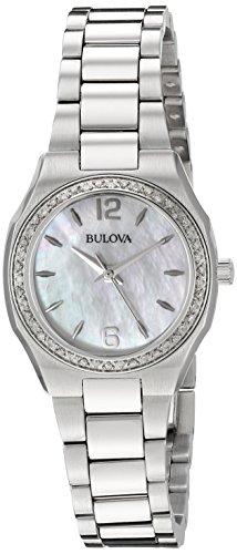 Bulova Damen-Armbanduhr Diamond Gallery Analog Quarz Edelstahl 96R199