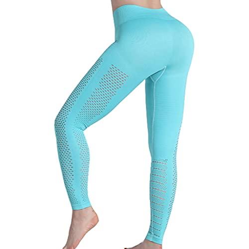 ZZAL los Pantalones Yoga Pantalones de Yoga para Mujer, Mallas de Culturismo Elásticas Altas, Mallas Deportivas de Entrenamiento Hueco(Size:Metro,Color:Azul)