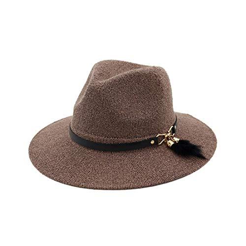 Moda Casual Sombrero de Sol Salvaje, Sombrero de Sombrilla Al Aire Libre Sombrero de Paja Fresco de la Protección Del Sol de la Gorra Del Viaje de la Señora, TBR@AKL, Pasta de judías, m
