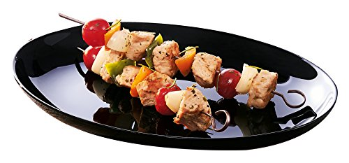 Luminarc Servierteller Barbecue Friends Time schwarz 32,8 cm, Glas, 30x26x3 cm