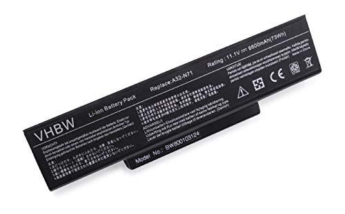 vhbw Batterie LI-ION 6600mAh 11.1V Noire pour ASUS remplace 70-NX01B1000Z, 70-NXH1B1000Z, 70-NZY1B1000Z 70-NZYB1000Z, A32-K72, A32-N71