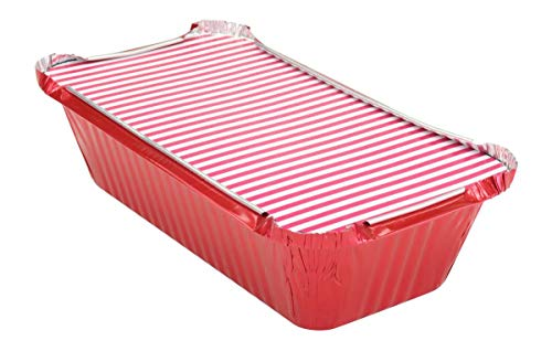 KitchenDance 1-1/2 Pound Disposable Colored Loaf Pans with Lids #1650 (Red, 125)