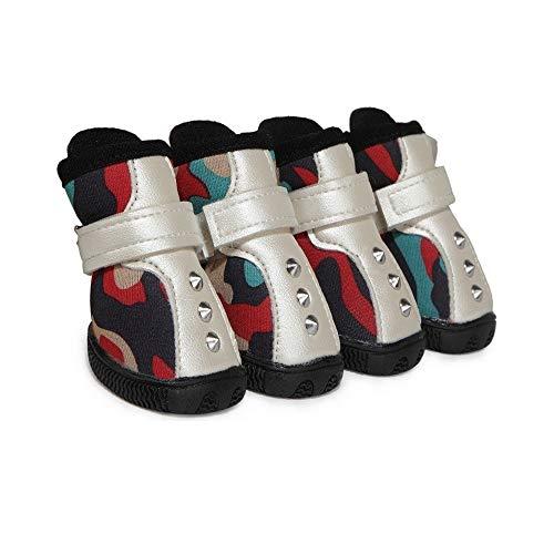 JINSUO SSGFZ Perro Zapatos de Vestir Zapatos del Perro Cuatro Estaciones Botas de Perro Caliente Superficie de la Carretera de Goma Antideslizante único Cachorro de Protector de Garra