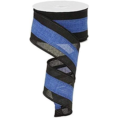 Black /& Blue Royal Burlap Wired Edge Ribbon 1.5 x 10 Yards