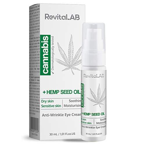 RevitaLAB, crema occhi antirughe a base di cannabis, contorno viso liscio, per pelli sensibili, dermatologicamente testata, 30 ml