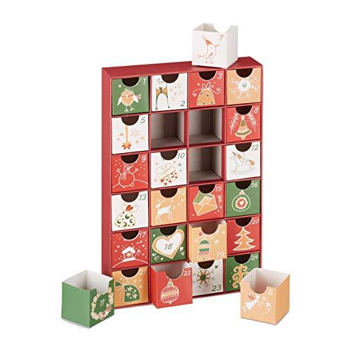 Relaxdays Adventskalender zum selbst Befüllen, 24 Boxen, wiederverwendbar, Kinder & Erwachsene, Weihnachtskalender, rot, Pappe, 32,50 x 22,00 x 5,50cm