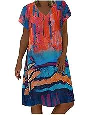 Briskorry Sukienka damska Splice kolor długa sukienka maxi sukienka plażowa na urlop luźna letnia sukienka długa sukienka maxi sukienka plażowa Boho sukienka maxi z długim rękawem, sukienka na czas wolny, styl vintage baggy, tunika