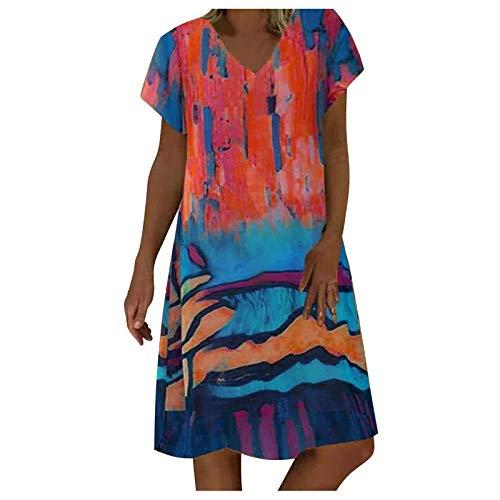 VEMOW Vestidos Verano Mujer Elegantes Vestidos Cortos con Estampados de Arte Pintura Manga Corta Cuello en V, Suelto Casual Falda de Playa Vestidos de Fiesta Bohemio Noche Tallas Grandes(F Azul,3XL)