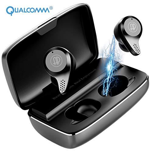 APANAGE CVC8.0 Apt-X - Auriculares Bluetooth (Bluetooth 5.0, estéreo, Deportivos, inalámbricos, Bluetooth, con Compartimento de Carga portátil y Resistente al...
