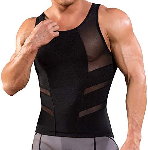 TAILONG Tank Top Slimming Vest Tight Body Shaper Tummy Underwear Men Waist Trimmer Compression Shirt (Black, XL)