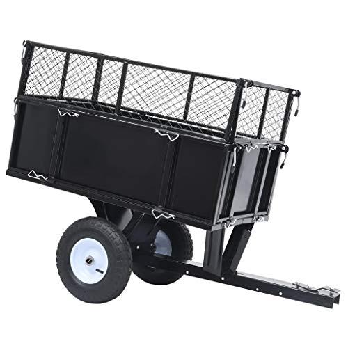vidaXL Kippanhänger für Rasentraktor Kippbar ATV Quad Anhänger Hänger Aufsitzmäher Traktor Rasentraktoranhänger Garten 150kg Last Stahl