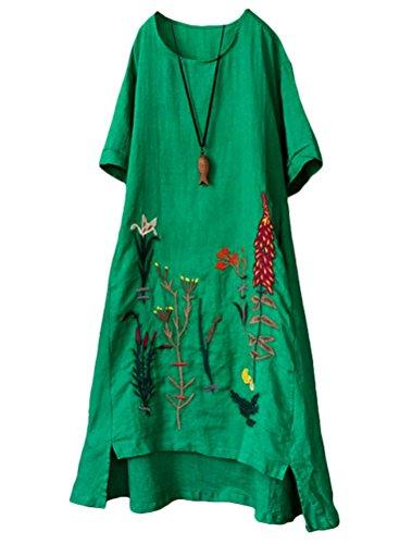 Mallimoda Damen Rundhals Kurzarm Sommerkleid Embroidery Leinen Kleider Art 1-Grün XXL