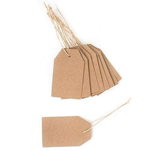 24 kleine Papieranhänger natur Kraftpapier-Etikett Geschenk-Anhänger braun Namensschild Tischkarte 6 x 3,5 cm Hänge-Etikett Preisschild Anhängsel Geschenkanhänger 1 bis 24 Adventskalender basteln