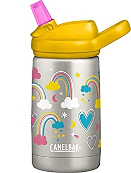 CamelBak Eddy+ Kids Water Bottle Vacuum Insulated Stainless Steel with Straw Cap 12 oz Rainbow Love - Spill-Proof When Open Leak-Proof When Closed Model Number  2284104040