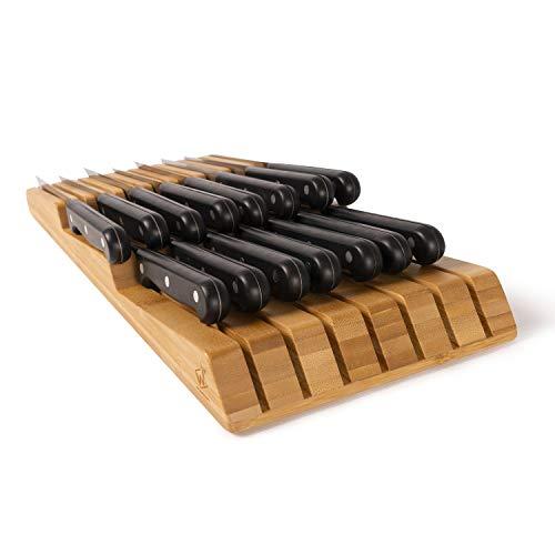 WWOODSUN In Drawer Bamboo Knife Block 15 Slots Knives Holder Premium Handwork Knife Organizer for Kitchen Drawer