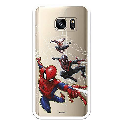 Funda para Samsung Galaxy S7 Oficial de Marvel Spiderman Telaraña Patron para Proteger tu móvil. Carcasa para Samsung de Silicona Flexible con Licencia Oficial de Marvel.