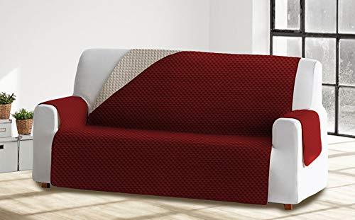Cabetex Home - Cubre sofá Reversible Bicolor con ajustes - Microfibra Acolchada Antimanchas (Burdeos/Crema, 3 Plazas)