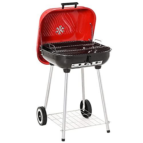 Haoo Parrilla de carbón portátil con ruedas estante inferior ajustable para picnic camping patio trasero cocina