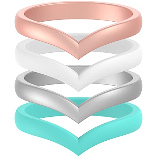 ThunderFit Thin Heart Shaped Silicone Wedding Rings for Women (Teal, Rose Gold, White, Silver, 6.5 -...