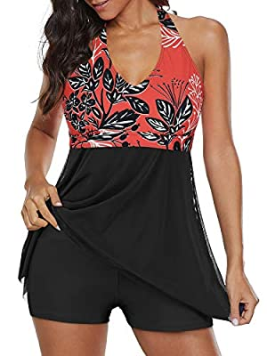 Century Star Womens Athletic One Piece Swimwear Tummy Control Plus Size Swimdress Long Torso Tankini Swimsuit Bathing Suits Red Floral 14-16
