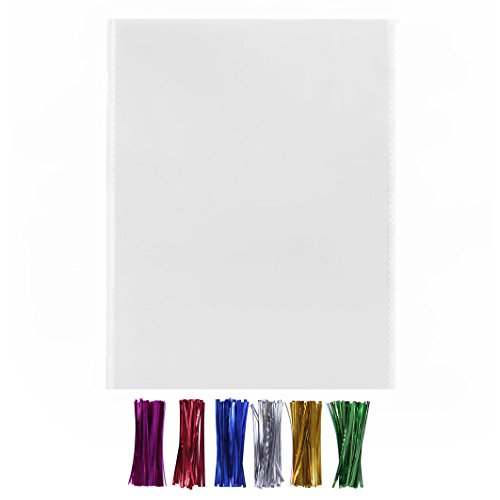 200 Large Cello Bags 11x14 with Twist Ties - 1.4mils Thickness OPP Flat Plastic Bags for Christmas Wedding Mug Bakery Cookie Gift Basket Supplies (11'' x 14'')