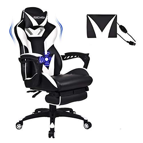 Puluomis Massage Racing Gaming Stuhl Bürostuhl - Ergonomisches Sportsitz höhenverstellbarer Computerstuhl Chefsessel Schreibtischstuhl mit Kopfstützen, verstellbaren Armlehnen und Fußstützen (Weiß)