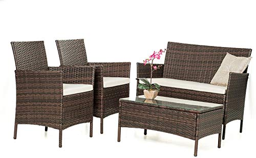 Rattan Muebles de jardín Conjuntos de mesas de efecto invernadero del patio interior y exterior y sillas de cuatro conjuntos de sofá,Rattan