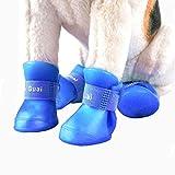 VICTORIE Zapatos Perro Botas Impermeable Antideslizante Lluvia para Mediano y Grandes Perros Azul 4 Pedazo(L: 4.7 X 5.7 CM)