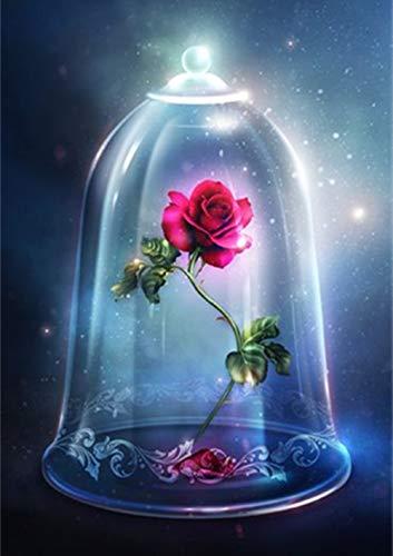 Kit de pintura de diamantes cuadrados 5D, DIY square Diamond Art Rose (La Bella y la Bestia)Rhinestone Kit de punto de cruz Suministro Arte Artesanía Lienzo Decoración de la pared pegatinas 30 x40 cm