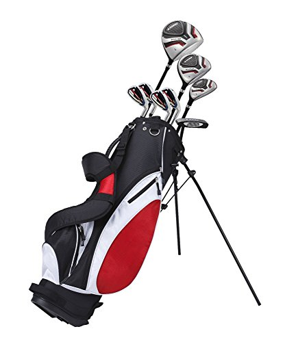 Precise Teenager Complete Golf Set Includes Titanium Driver, S.S. Fairway, S.S. Hybrid, S.S. 7-PW Irons, Putter, Stand Bag, 3 H/C's Teen Ages 13-16 Right Hand & Left Hand Available! (Left Hand)