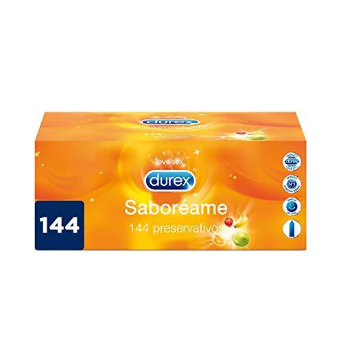 Durex Preservativos Saboreame con Sabores Afrutados - Fresa, Plátano, Naranja y Manzana - Pack ahorro 144 condones