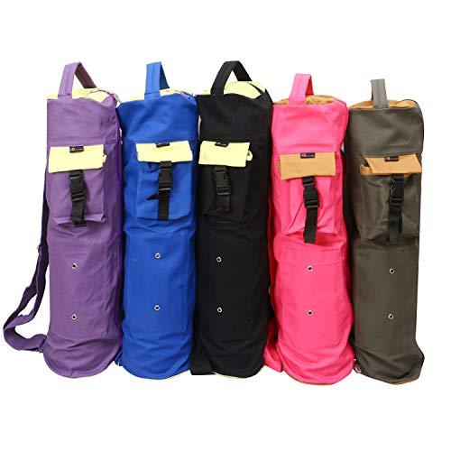 KD Yoga Mat Bag Cotton Canvas Cover Extra Large Bag Multi Functional Pockets for Bottle Belt Bricks Towel Wallet Block & More Sling Bag Mat Holder (Purple)