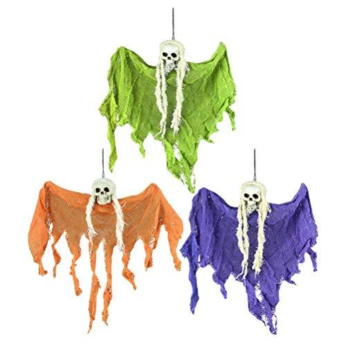 Amosfun 3 Stück Halloween hängende Totenköpfe Skelett Geister Spukhaus Requisiten Horror Party Bar Indoor Outdoor Hängende Dekoration zufällige Farbe